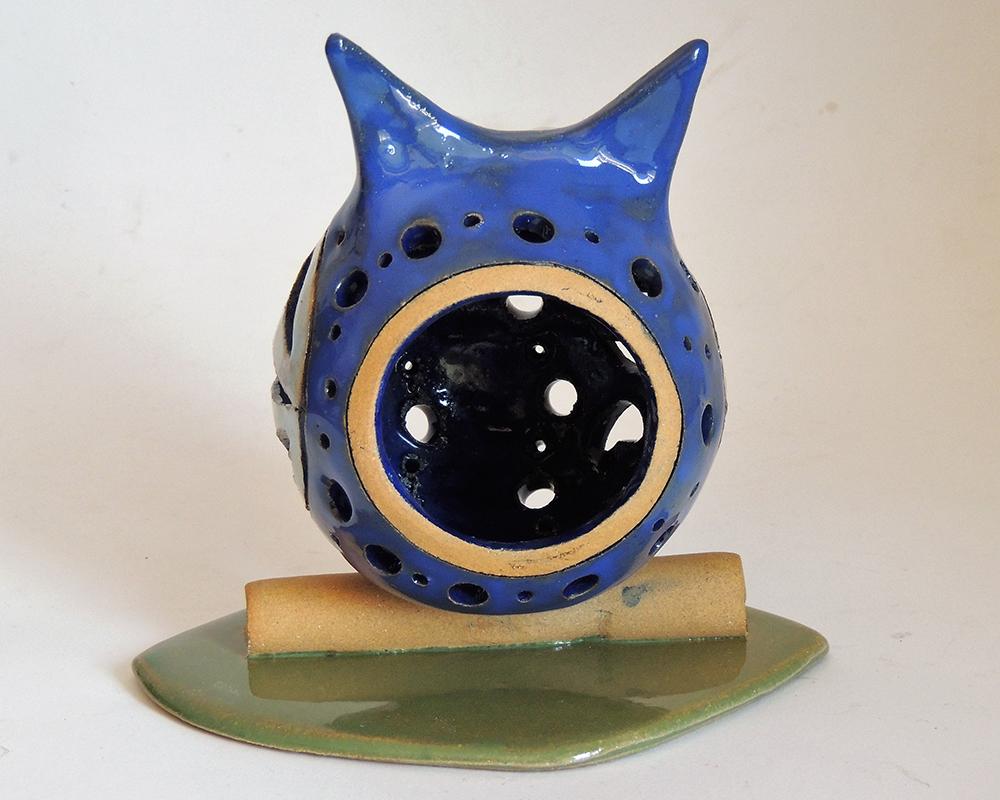 lampada gufo medio greta filippini oca ceramica artistica ferrara