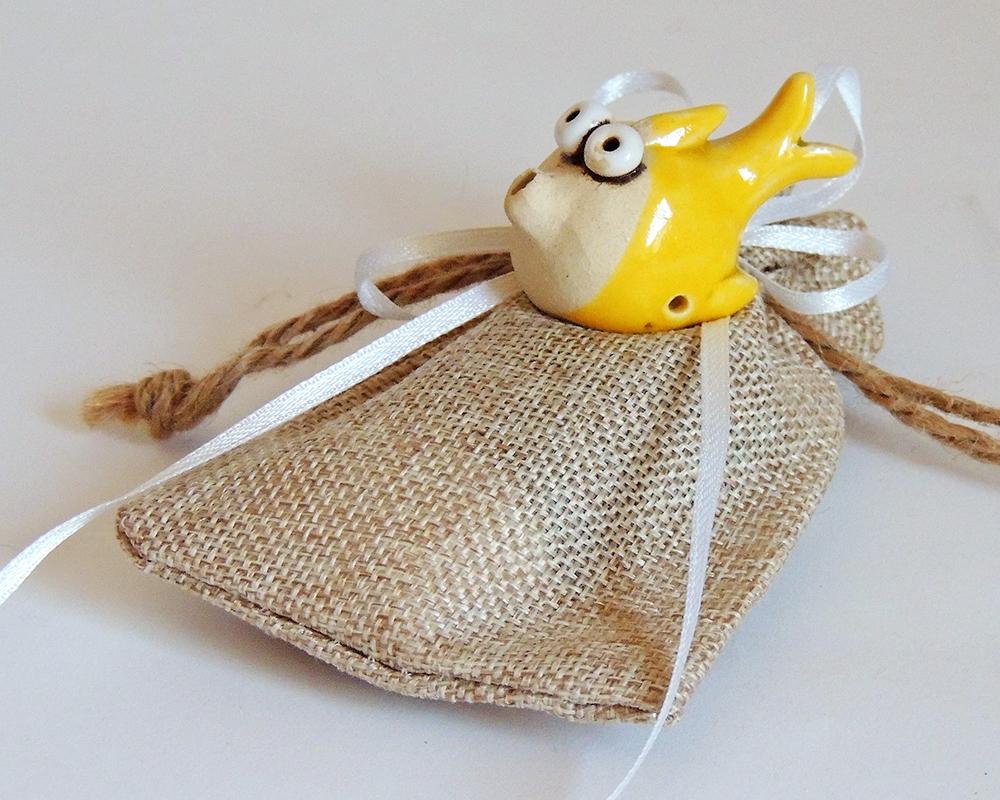 greta filippini oca ceramica artistica ferrara bomboniera pesce giallo