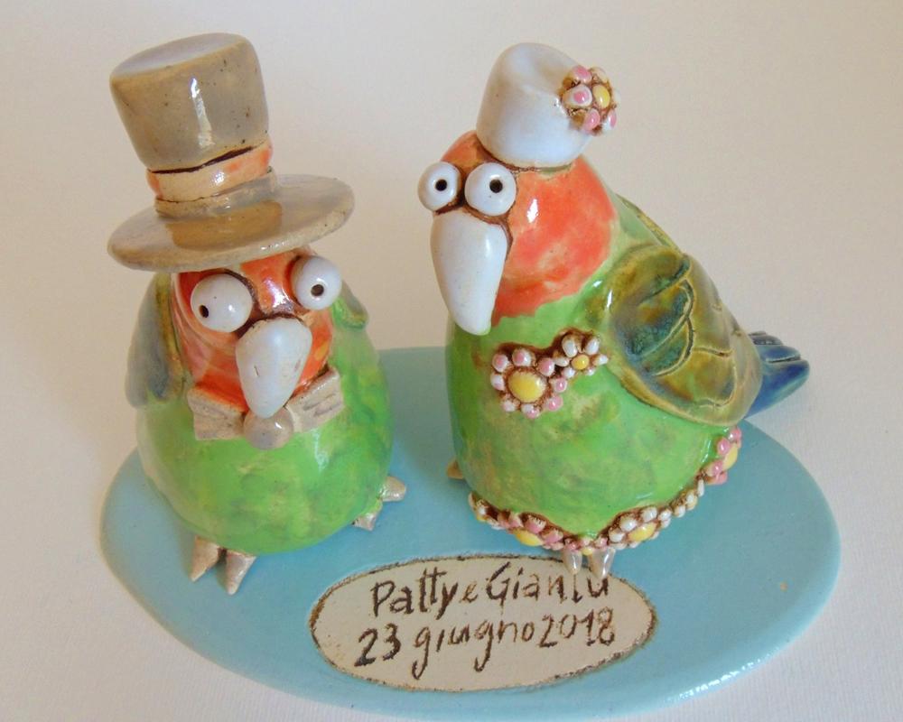 cake topper piccioni greta filippini oca ceramica artistica ferrara