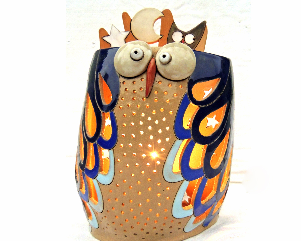 gufo greta filippini oca ceramica artistica ferrara bomboniere regali personalizzati gufo luce