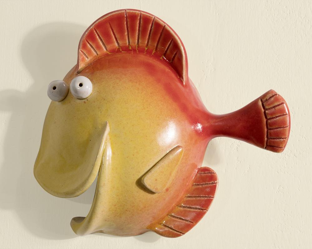 pesci giallo rosso greta filippini oca ceramica artistica ferrara pesce